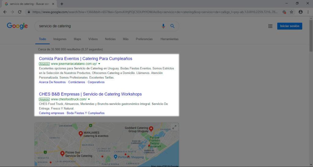 Campura de una búsuqeda en Google para ver el posicionamiento de los anuncios
